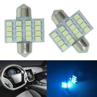 innen blaue led leuchtet autos großhandel-100x super Ice Blue 31mm 16 SMD DE3175 LED Auto Beleuchtung Lampen für Innen Dome Karte Lampen