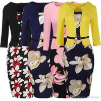 Wholesale works bell - Women One Piece Patchwork Floral Print Elegant Business Party Formal Office Plus Size Bodycon Pencil Casual Work Dress 170924