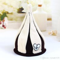 Wholesale Crochet Mouse - 5 colors Korean styles New arrivals windmill woolen hat Children Handmade winter warm boy girl Pointy hat Knitted Hat with mouse accessory