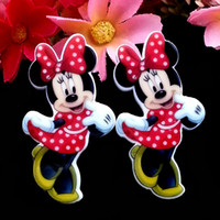 Wholesale Dot Inlay - 46x25mm Minnie Mouse Red Polka Dot Dress And Bow Planar Resin Cabochons Flat Back Hair Bow Center Card Making Crafts