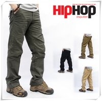 Wholesale Cheap Cargos - 2016 HIP POP 30-40 Size Skateboard Fashion Men's Cargo Pants Casual Mens Pant Multi Pocket Military Overall Men Outdoors Cheap Trousers