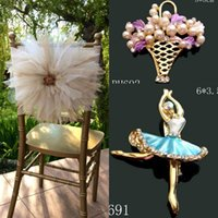Wholesale Cheap Gold Flower Pins - 2017 Romantic 3D Flower Wedding Chair Sashes Tulle With Pin Chair Covers Fashion Cheap Wedding Decorations Custom Made Wedding Supplies
