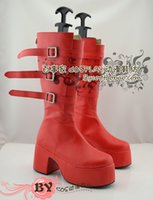 Wholesale Perona One Piece Costume - Wholesale-NEW Arrival One Piece Perona Anime lolita punk Cosplay Red Boots Ladies Shoes
