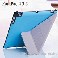 Wholesale Magnetic Cover For Ipad4 - 2015HOT Fashion Style 4 Shapes Stand Design Magnetic Leather Case for ipad 4 3 2 Smart Cover Smartcover for iPad4 Utrathin Free shipping