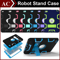 Wholesale Ipad Mini Waterproof Pouch - 3 In 1 Shockproof Kids PC + Rubber TPU Hybrid Robot Case for iPad Mini 1 2 3 4 Air 6 Pro Heavy Duty Shell With Stand Skin Cover DHL