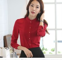 Wholesale Office Wear Tops Blouses - New Fashion women clothes female long sleeve stand collar plus size Red white office blouses OL formal work wear tops blusa