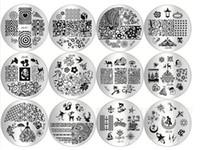 absatznägel großhandel-DIY-Nagel-Kunst-Bild-Muster-Nagellack-Schablonen-Druckplatte gemalter Stahl-Schablonen-Paragraph-Weihnachtsblau-Film-Stempeln polnisches Manicur