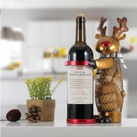 Wholesale Reindeer Christmas Crafts - Netted Xmas Reindeer Wine Rack Animal Wine Holder Cork Container Practical Crafts for Xmas Decoration Christmas Gift