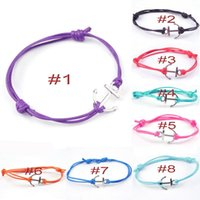 Wholesale Anchor Friendship Bracelets - MIC 20pcs Bohemian style Alloy Anchors Charm Bracelet Handmade Wax Cord Friendship Bracelet