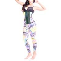 b8a6403f6 Espaço das mulheres de Impressão Cor Corpo Shapewear Ternos de Látex Corset  Tops com Calcinha de Controle Steampunk Terno Gótico Cintura Trainer