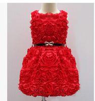 Wholesale Tutu Ballet Rose - 2-7 Ages Baby Rompers Toddler Rose Flower Tutu Dress Sleeveless Ballet dresses