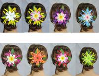 Wholesale Tiare Flower Wholesale - New FREE SHIPPING KL1040 50PCS lot 8 colors 11x1cm Silk spider ilies w foam tiare plastic hair claw Hawaii Hula dance ,tropical flower
