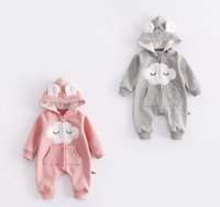 Wholesale Clouds Clothing - NEW infant Kids Winter Romper cloud Style long sleeve Hooded romper baby warm Climb clothing boy girls Winter thick Rompers