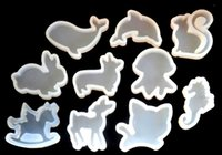 Wholesale Cast Vinyl - 10mix New animal Shape Epoxy Silicone Molds DIY Pendant Epoxy Resin Casting Mould Hand Craft Tool Accessories decorate gifts