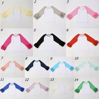 Wholesale Wholesale Tops Ruffle Sleeves - 14colors 5size Baby Girls fashion Shirt Kids O-Neck Spring Autumn ruffle raglan Tops girls casual long sleeve shirt