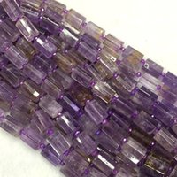 "Wholesale Amethyst Loose Beads - Wholesale Natural Genuine Purple Yellow Ametrine Faceted Hand Cut Tube Loose Beads Barrel Column Beads 15"" 04269"