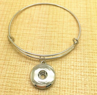 Wholesale Diy Vintage Fashion - Vintage Silver Snaps Button Charms Expandable Bracelet Bangles For Wiring Bangles 12pcs Women Brand Fashion Jewelry Gift Accessories DIY Z18