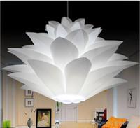 diy tavan lambaları toptan satış-DIY Abajur IQ PP Kolye Lamba Lotus Avize Süspansiyon Tavan Kolye Ile Noel Oturma Odası Için E27 Ampul Tabanı Ile