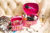 AF662 Set 2 pezzi Cute Sweet strisce bianche e rosa zip Pvc Donna lady girl cosmetica make-up organizer storage bag VSP
