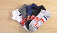 Wholesale Breathe Freely Socks - 50pairs Men's socks cotton for summer low male breathe freely and absorb sweat short tube flag stripe tide personality British Style