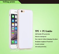 Wholesale Sublimation Combo - For Iphone 6 6s Plus DIY Sublimation Heat Press Print PC TPU Combo White Blank Iphone 5 5s SE Cover Case DHL Free