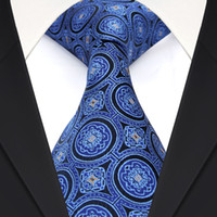 Wholesale Neckties Navy - F27 Geometric Navy Blue Mens Ties Necktie 100% Silk Jacquard Woven Wholesale Suit Gift For Men Free Shipping