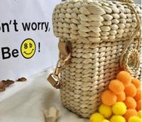 Wholesale tassel braiding - 2017 European original tidal braided hair ball basket bag multi-color Straw Bag Mini leisure bag free shipping
