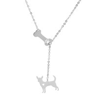 Wholesale bone choker necklace - Chihuahua Pendant Necklace Pet Dog Bone Hollow Paw Claw Stainless Steel Choker Necklaces Women Charm Jewelry Wholesale