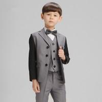 Wholesale Leisure Suit Pictures - 4pieces Set Autumn Children's Leisure Clothing Sets Kids Baby Boy Suit Vest Gentleman Clothes For Weddings Formal Clothing