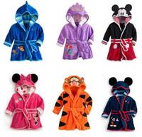 Wholesale Boy Wear Nightgown - Free shipping Children's Pajamas robe kids Mickey Minnie Bathrobes Baby homewear Boys girls Cartoon Home wear