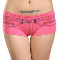 Wholesale Lingerie Boxers - a Lot 12 pcs Ladies Panties Zipper pocket Print Womens Boxers Cotton Underwear Lingerie Seamless Boyshorts Shorts M L XL free shippin
