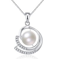 Wholesale Natural Leaf Pendant Necklace - 925 sterling silver woman jewelry natural pearl pendants for girls necklaces diy charms white gold leaf slider shiny crystal diamante 1pcs