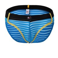 Wholesale Cotton Penis Sheath - Striped Mesh Briefs 2016 Sexy Sheath Underwear Mens Pouch Penis Transparent Gauze Bikini Mens Sexy Underwear
