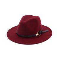 Fashion Wool Felt Jazz Cap Hat Wide Brim Panama Fedora Hats Men Women  Unisex Trilby Fascinator Church Formal Top Hat eccd54da5856