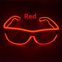 светодиодные солнечные очки оптовых-Светодиодные простые очки проволока мода неоновые светодиодные затвора Shaped Glow солнцезащитные очки рейв костюм партии DJ яркие солнцезащитные очки