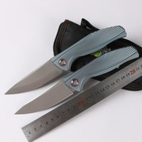 Wholesale Blue Knifes - Green thorn F7 flip fold knife, blue coarse linear bearing, m390 blade, TC4 titanium handle, outdoor camping, hunting bag, fruit knife, EDC