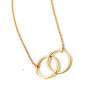 gold infinity anhänger halskette großhandel-Shuangshuo Min1pc Gold und Silber Infinity Doppelkreise Halskette für Mädchen ineinander greifende Kreise Anhänger Halskette Xl184 Weihnachtsgeschenk