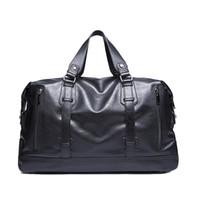 Wholesale Black Garment Bags - Wholesale- 15.6 inches leather high quality men travel bag vintage handbags men messenger duffel bags shoulder crossbody bags