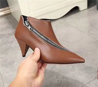 Wholesale White Pumps Brown Heels - Brown Black White Pumps Womens Single Shoes Pointed toe Cone Heels Leather t show Evening Shoes