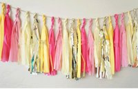 Wholesale Tissue Paper Garland Wholesale - TISSUE PAPER POM POMS Tassels Garlands Wedding Decorations Bunting Tassle Festive Wedding Decoration Mixed Color Collocation