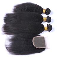 ingrosso yaki vendita dei capelli umani-Vendita calda 9A Kinky Straight 9A capelli umani con chiusura 3 pezzi non trattati grezza yaki capelli tesse con chiusura colore naturale italiano yaki