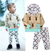 Wholesale Baby Boy Holiday Clothes - hot selling baby suits korean style fashion Toddler kids Boys Holiday Clothes Deer Hooded Tops+Pants Home cotton Outfits top casual Set 0-2T
