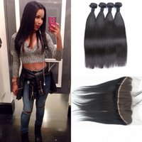 Wholesale wholesale lace frontals - Indian Straight Hair Weaves With Closure 4 Bundles With Lace Frontal Closures Ear to Ear 13x4 Full Lace Frontals G-EASY