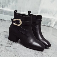 Moda Sexy Black High Heel 5CM Mulheres Boost 100% Genuine Ankle Boots Square Toes Winter Boots Tamanho 35-41