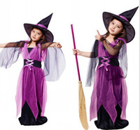 Wholesale Japanese Halloween Costumes Girls - Gril Japanese Anime Cosplay Lace Purple Witch Halloween Costumes Mask Hat and Dress Party Free Shipping