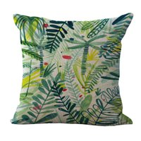 Wholesale bird throw pillows - Green Leaves Flowers Birds Pillow Case Cover Square linen cotton Throw Cushion cover Pillowcase Cover Home Sofa pillowslip Decor 240501