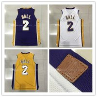 Wholesale Ball Dryer - New 2017-18 mens 2 # Lonzo Ball jersey 100% Stitched Embroidery Logos Ball basketball jerseys wholesale Free Shipping