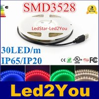 Wholesale Flexible Ribbon Flat Cable - 5V 0.5 - 2M waterproof rgb 30leds m Led double PCB Strip Light 3528 SMD Ribbon Tape flexible white + 1m USB Cable USB-Kabel