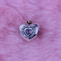 Wholesale Fit for Pandora Bracelet Heart Beads With K Gold plated Crown Sterling Silver Charms DIY Jelwery pc