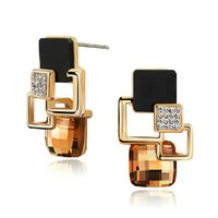 Wholesale High End Fashion Jewelry - New Brand Earrings Jewelry High-end Fashion Temperament Geometry Square Crystal Charm Stud Earrings For Woman Brincos
